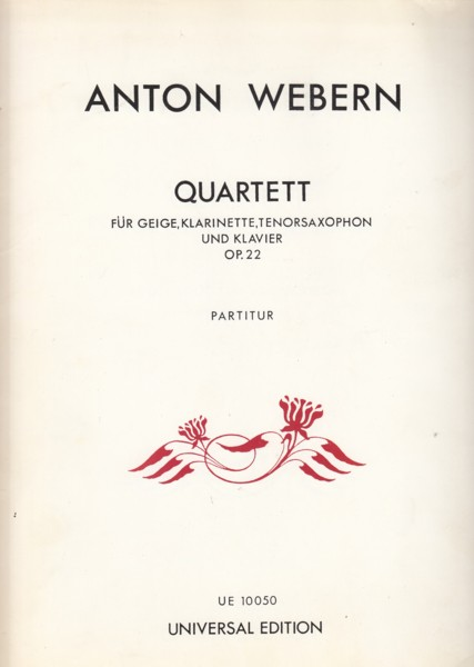 Image for Quartet, Op.22 for Violin, Clarinet in A, Tenor Saxophone and Piano - Score & Parts