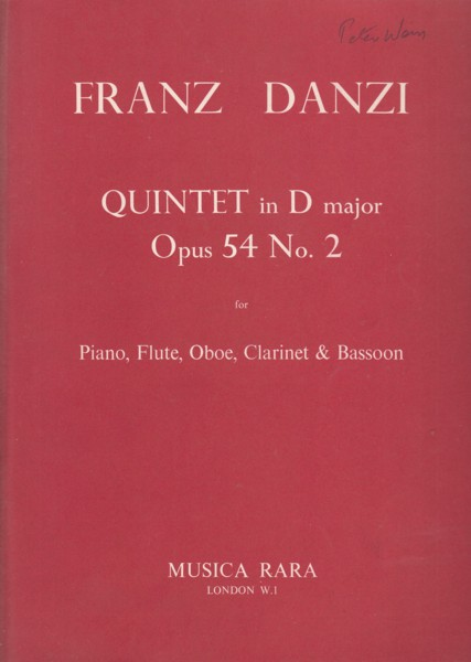 Image for Quintet in D major, Op.54 No.2 for Piano, Flute, Oboe, Clarinet in A & Bassoon - Set of Parts