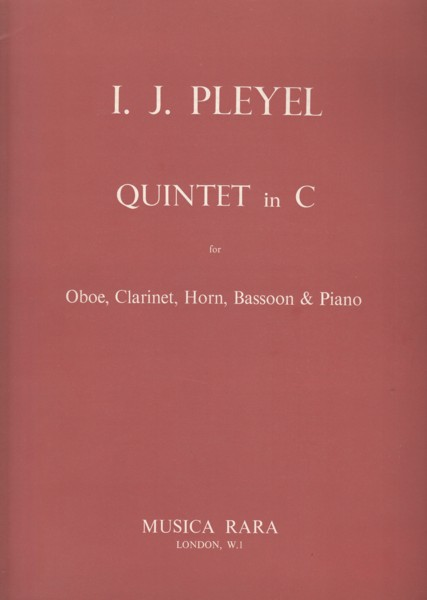 Image for Quintet in C major for Oboe, Clarinet in B flat, Horn, Bassoon and Piano - Set of Parts
