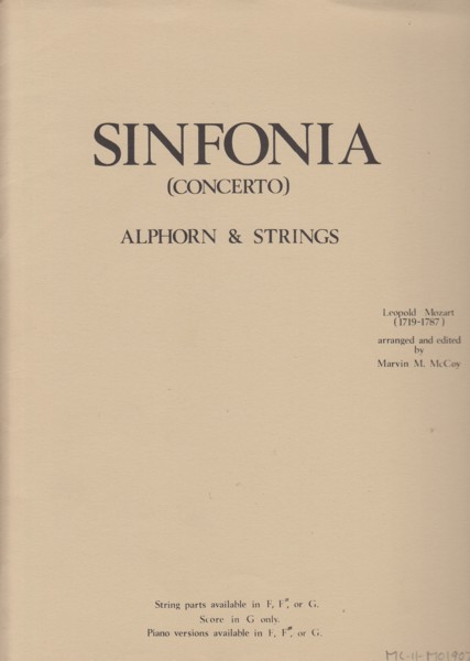 Image for Sinfonia (Concerto) in G major for Alphorn & Strings - Full Score & Set of Parts
