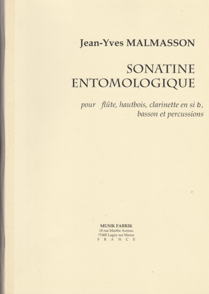 Image for Sonatine Entomologique for Flute, Oboe, Clarinet in B flat, Bassoon & Percussion - Score & Parts