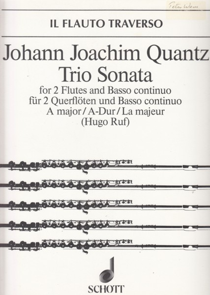 Image for Trio Sonata in A major for 2 Flutes & Basso continuo - Set of Parts
