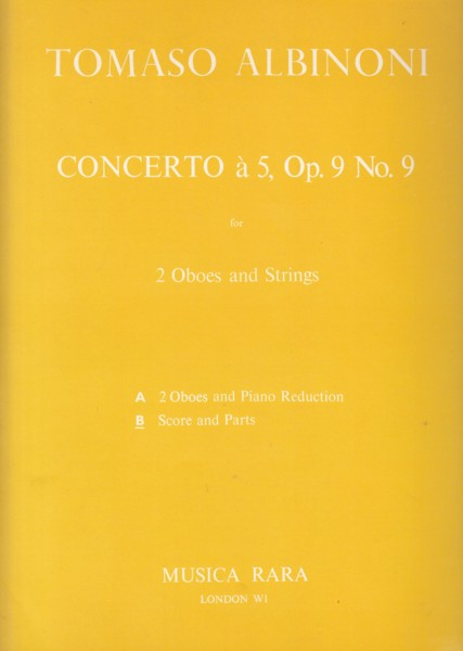 Image for Concerto a Cinque in C major, Op.9 No.9 for 2 Oboes, Strings & Continuo - Full Score & Set of Parts