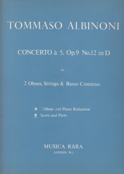 Image for Concerto à Cinque in D major, Op.9 No.12 for 2 Oboes, Strings & Continuo - Full Score & Set of Parts