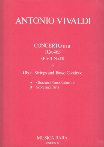 Image for Concerto in a minor, RV 463 for Oboe, Strings & Basso Continuo - Full Score & Set of Parts