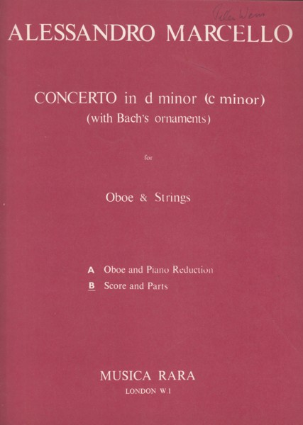 Image for Concerto in d minor for Oboe, Strings & Continuo - Full Score & Set of Parts