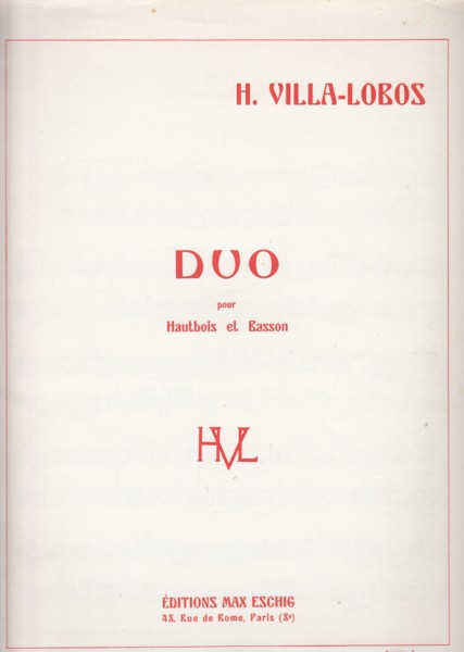 Image for Duo for Oboe and Bassoon