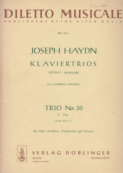 Image for Trio No.30 in F major, Hob.XV:17 for Flute (Violin), Cello and Piano - Set of Parts