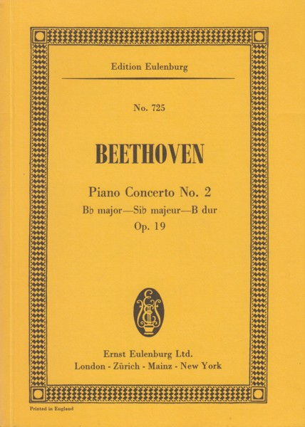 Image for Piano Concerto No.2 in B flat major, Op.19 - Study Score