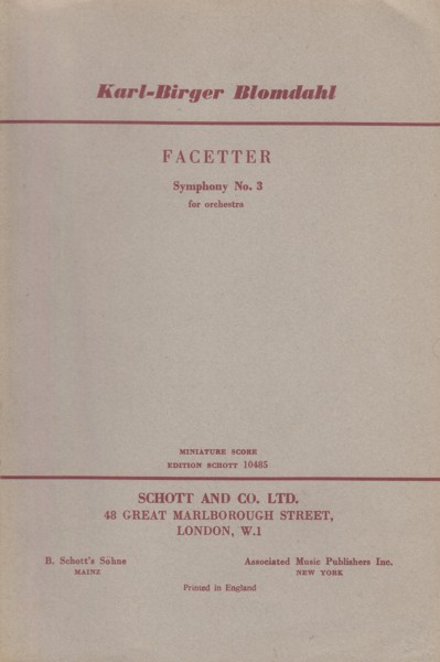Image for Facetter, Symphony No.3 for Orchestra - Study Score