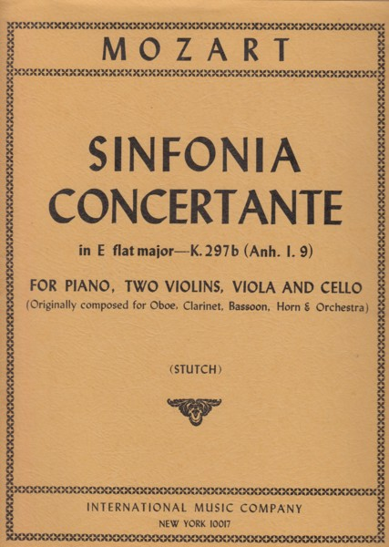Image for Sinfonia Concertante  in E flat major, K297b - Transcribed for 2 Violins, Viola, Cello & Piano