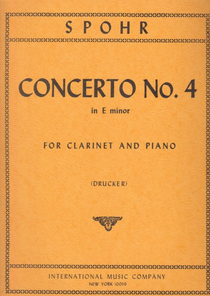 Image for Clarinet Concerto No.4 in e minor - Clarinet & Piano