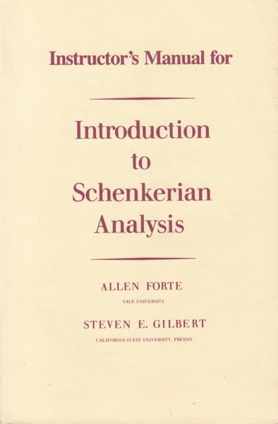 Image for Instructor's Manual for Introduction to Schenkerian Analysis.