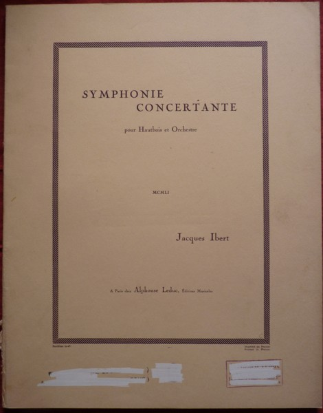 Image for Symphonie Concertante for Oboe and String Orchestra - Full Score