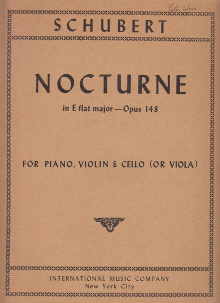 Image for Nocturne in E flat major, Op.148 for Violin, Cello (or Viola) & Piano - Set of Parts