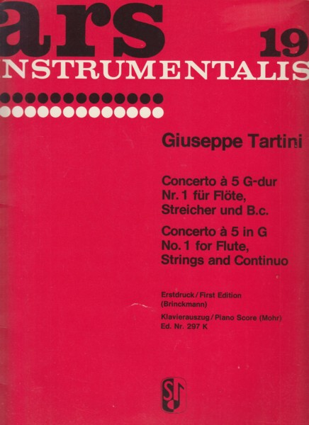 Concerto à 5 in G major No.1 for Flute, Strings & Continuo - Flute & Piano