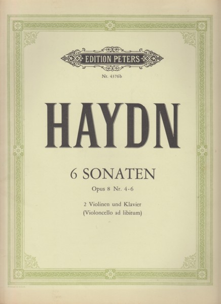 Image for Sonatas for 2 Violins and Piano (Cello ad lib.), Op.8 Nos.4 - 6