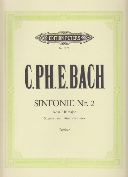 Image for Sinfonie Nr.2 in B flat major for Strings and Bass continuo, Wq 182/2 - Full Score