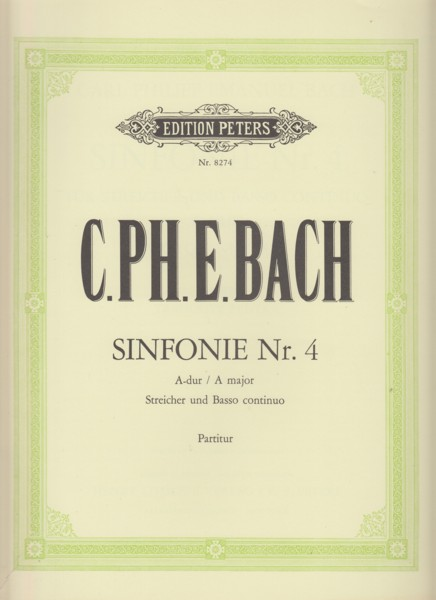 Image for Sinfonie Nr.4 in A major for Strings and Bass continuo, Wq 182/4 - Full Score