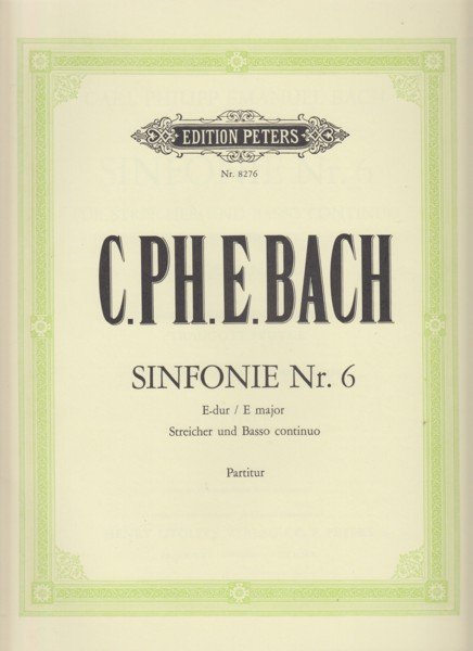 Image for Sinfonie Nr.6 in E major for Strings and Bass continuo, Wq 182/6 - Full Score