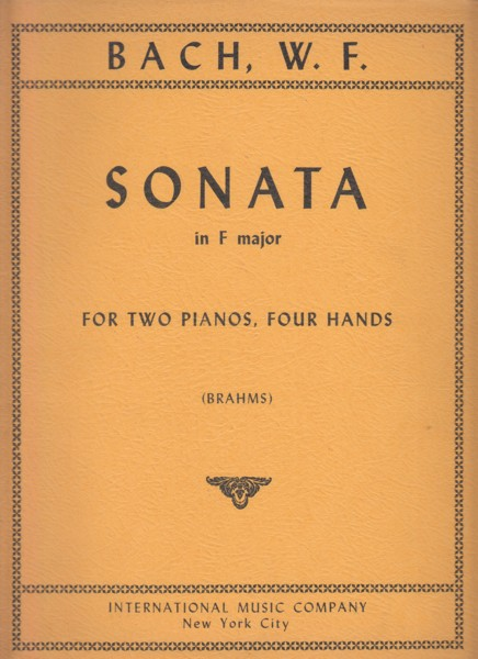 Image for Sonata in F major for Two Pianos, Four Hands