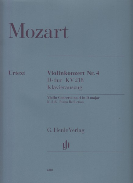 Image for Violin Concerto No.4 in D major, KV218 - Violin & Piano