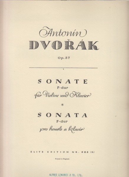 Image for Sonata in F major for Violin and Piano, Op.57