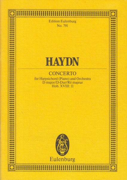 Image for Concerto for Harpsichord (Piano) and Orchestra in D major, Hob.XVIII:11 - Study Score