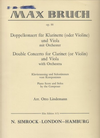 Image for Double Concerto for Clarinet (or Violin) and Viola with Orchestra, Op.88 - Piano Reduction