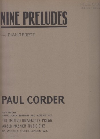 Image for Nine Preludes for Pianoforte