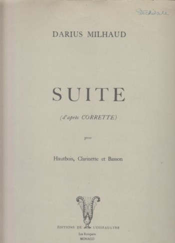 Image for Suite after Corrette for Oboe, Clarinet and Bassoon - Set of Parts