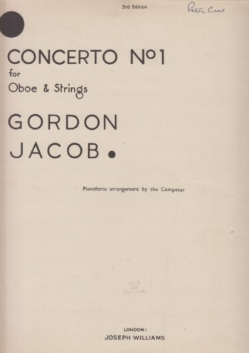 Image for Concerto No.1 for Oboe and Strings - Oboe & Piano