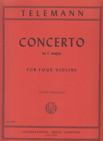Image for Concerto in C major for Four Violins - Score & Parts