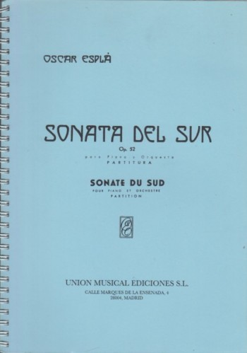 Image for Sonata Del Sur, Op.52 for Piano and Orchestra - Study Score
