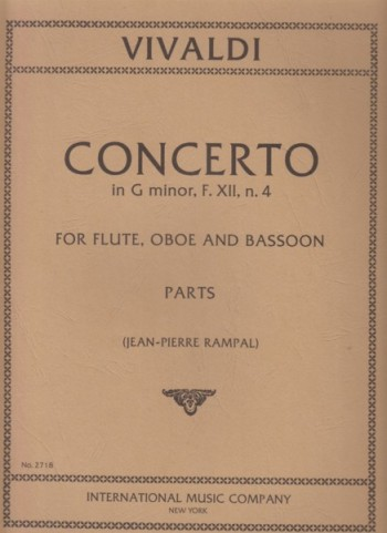 Image for Concerto in g minor, F.XII. n.4 for Flute, Oboe and Bassoon - Set of Parts