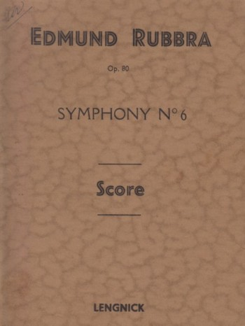 Image for Symphony No.6, Op.80 - Study Score