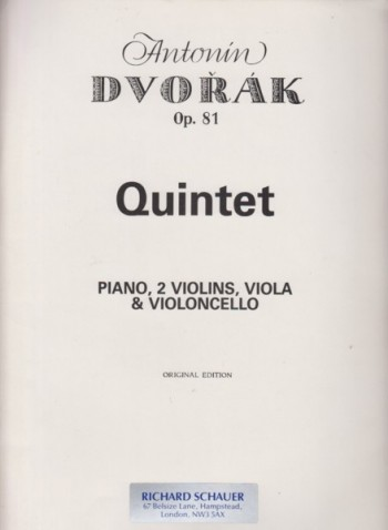 Image for Piano Quintet in A major, Op.81 - Set of Parts