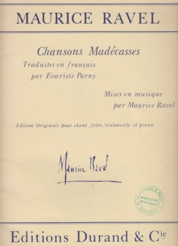 Image for Chansons Madécasses for Voice, Flute, Cello & Piano - Set of Parts