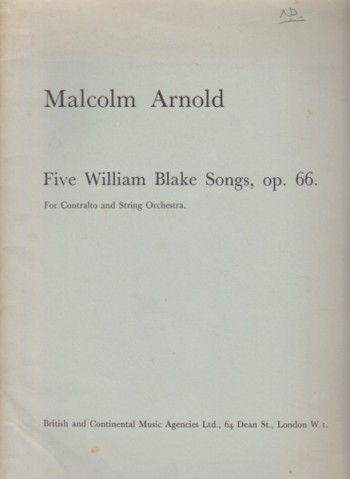 Image for Five William Blake Songs, Op.66 - Full Score