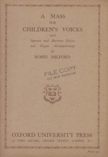 Image for A Mass for Children's Voices with Soprano and Baritone Soloists and Organ Accompaniment - Vocal Score