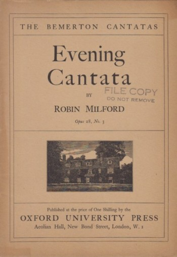 Image for Evening Cantata (The Bemerton Cantatas No.3) for Baritone Solo, Chorus and Organ, Op.28/3 - Vocal Score