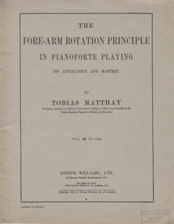Image for The Fore-arm Rotation Principle in Pianoforte Playing - Its Application and Mastery