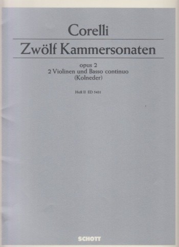 Image for Twelve Chamber Sonatas for Two Violins and Basso continuo, Op.2 Book II Nos.4 to 6 - Set of Parts