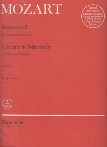Image for Violin Concerto in B flat major, KV 207 - Full Score