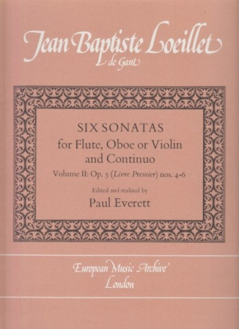 Image for Six Sonatas for Flute or Oboe or Violin and Basso Continuo, Volume II: Op.5 (Livre Premier) Nos. 4 - 6