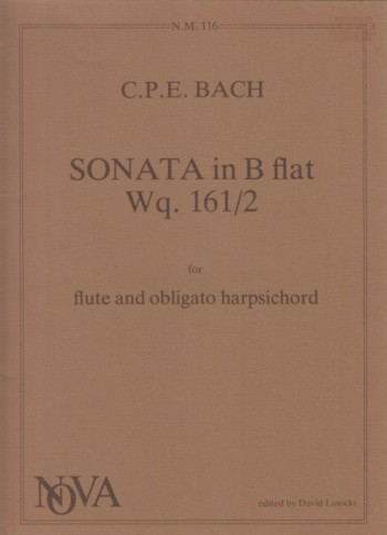 Image for Sonata in B flat , Wq. 161/2 for Flute and Obligato Harpsichord