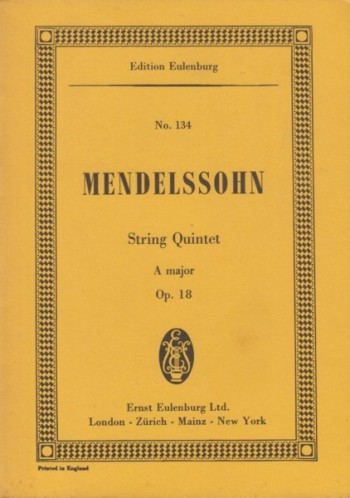 Image for String Quintet in A major, Op.18 - Study Score