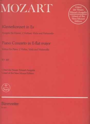 Image for Piano Concerto No.14 in E flat major, KV 449 for Piano and String Quartet - Set of Parts