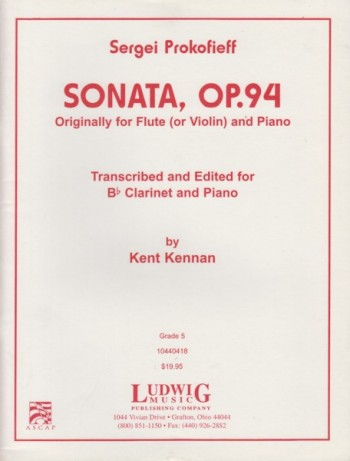 Image for Sonata, Op.94 transcribed and edited for Clarinet in B flat and Piano