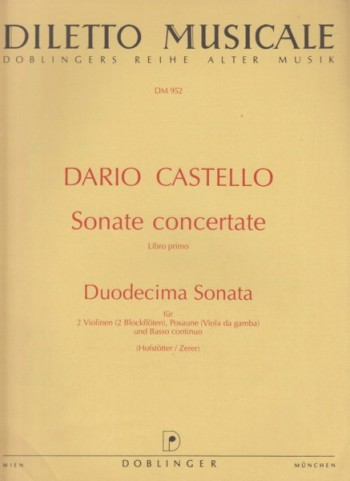 Image for Duodecima Sonata for 2 Violins (or 2 Recorders), Trombone (or Viola da Gamba) and Basso continuo - Set of Parts
